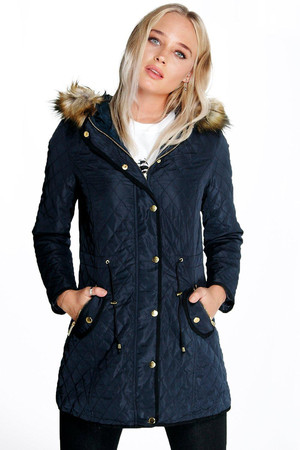 Padded Faux Fur Lined Parka Coat navy