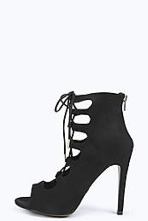 Peep Toe Lace Up Heels black