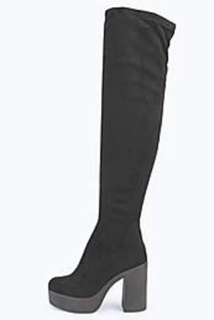 Platform 70's Over Knee Boot black