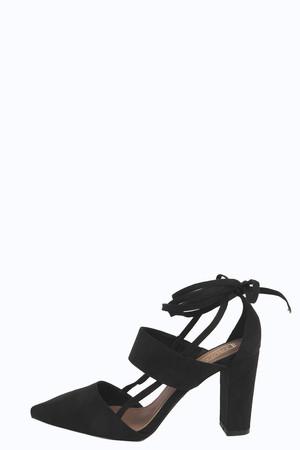 Pointed Ghillie Block Heel black