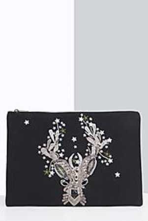 Reindeer Sequin Clutch Bag black