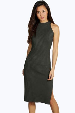 Rib Knit Halter Dress khaki