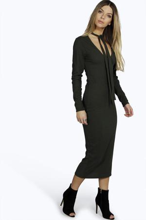 Ribbed Tie Neck Midi Dress khaki