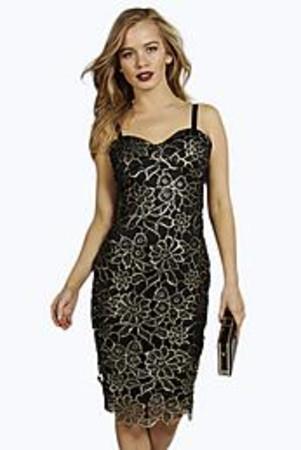 Ruby Metallic Corded Lace Midi Dress gold