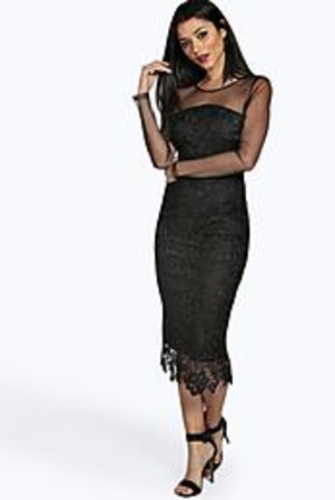 Ruth Lace Panelled Mesh Sleeve Midi Dress black