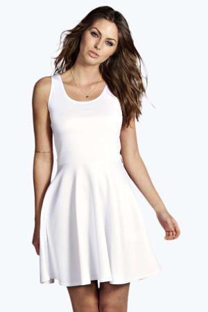 Scoop Neck Skater Dress white