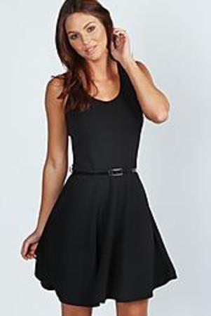 Scoop Neck Skater Dress black