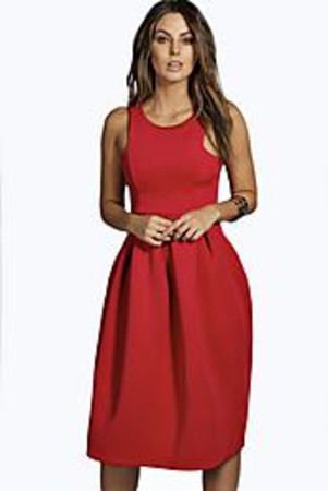 Scuba Cutaway Neckline Midi Dress red
