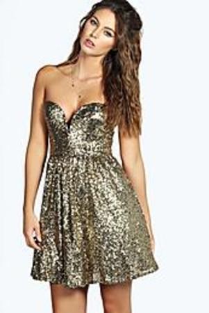 Sequin Plunge Skater Dress gold