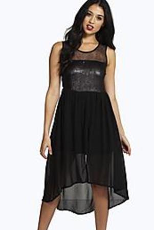 Sequin Top Chiffon Dip Hem Skater Dress black