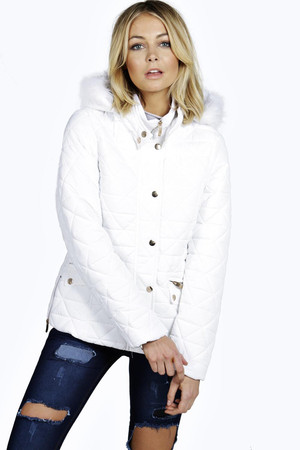 Short Quilted Coat white