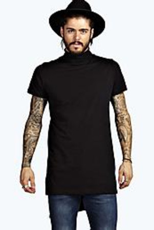 Short Sleeve Funnel Neck T Shirt black
