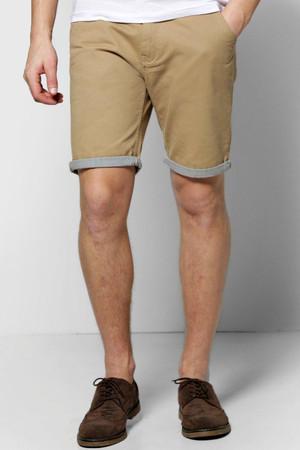 Shorts With Stripe Turn Up stone