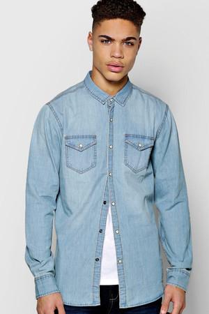 Sleeve Mid Wash Denim Shirt blue