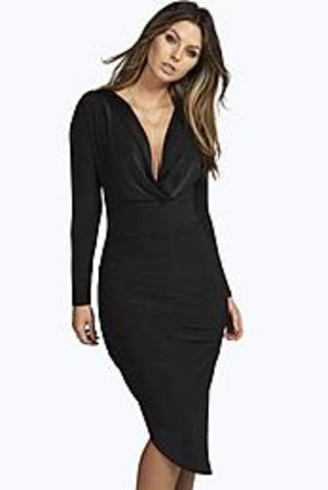 Slinky Cowl Ruched Midi Bodycon Dress black
