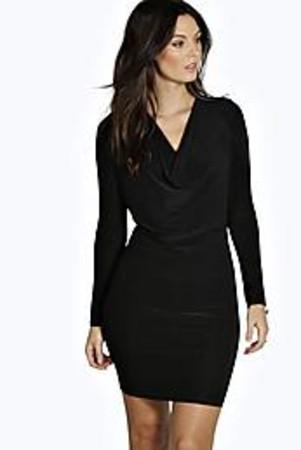 Slinky Long Sleeve Cowl Bodycon Dress black