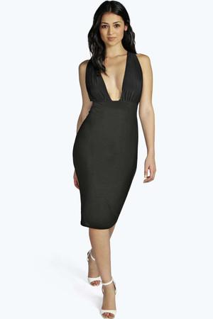 Slinky Open Back Bodycon Dress - black