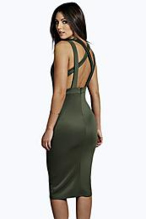 Strappy Low Back Midi Dress khaki