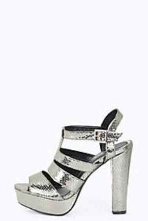 Strappy Platform Heels pewter