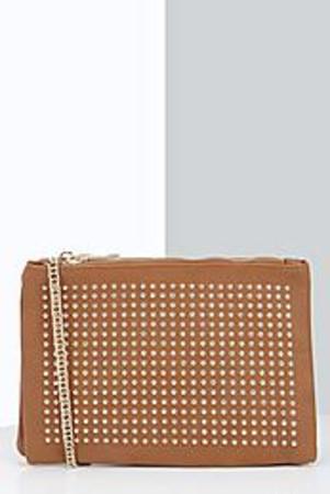 Stud Detail Cross Body Bag tan