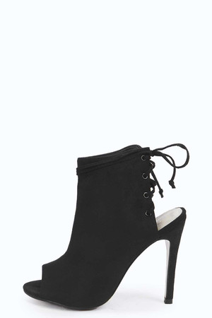 Suedette Lace Up Back Shoe Boot black