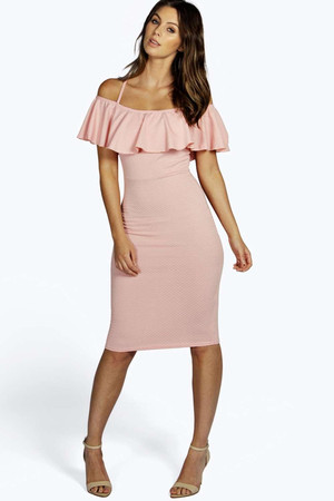 Textured Frill Strappy Bodycon Dress blush