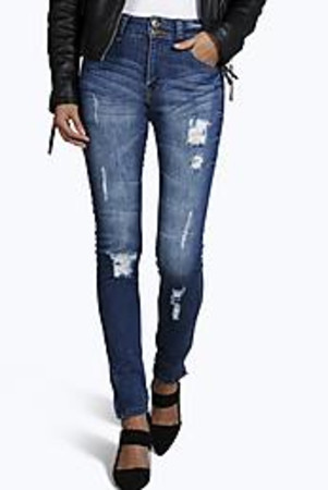 Two Button High Waist Cropped Skinny Jeans mid blue