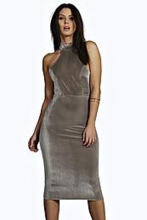 Velvet High Neck Midi Bodycon Dress grey