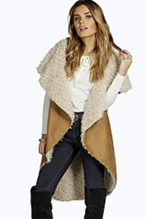 Waterfall Bonded Sherpa Gilet tan