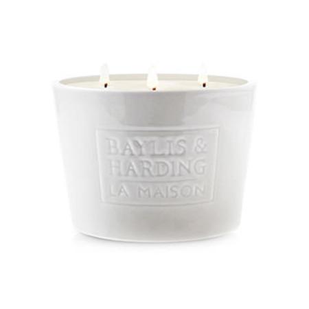 Baylis & Harding La Maison White Linen 3 Wick Candle
