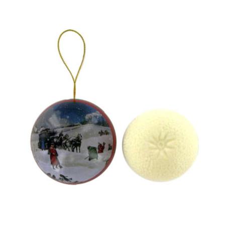 Bronnley Christmas Bauble Apple and Cinnamon Snow Scene 100g