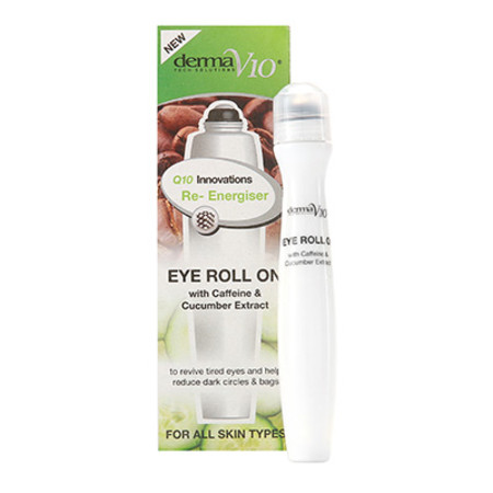 DermaV10 Q10 Innovations Eye Roll On Caffeine & Cucumber