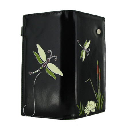 Shagwear Dragonfly Garden Large Wallet Black