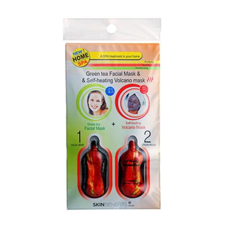Skin Benefits Green Tea Facial & Self Heating Volcano Masks