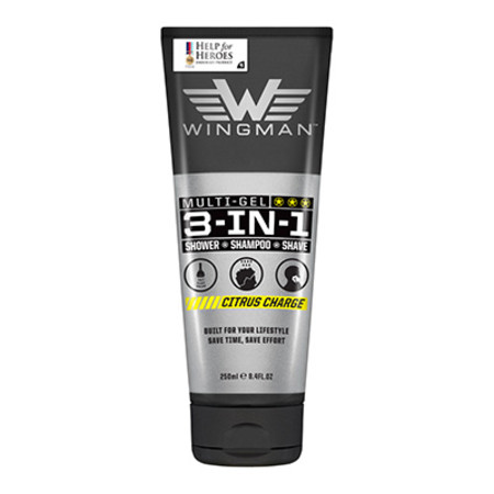 Wingman 3 in 1 Shower Shampoo Shave Citrus Charge 250ml