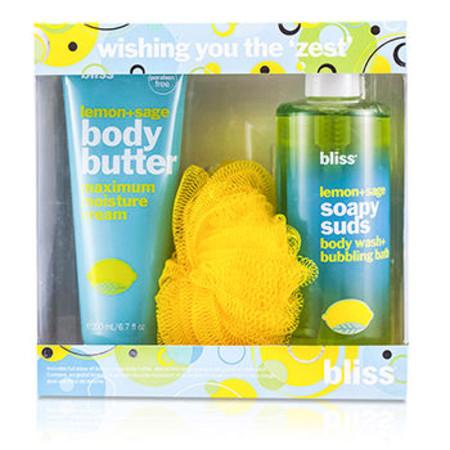 Bliss Wishing You The Zest Set: Lemon + Sage Body Butter 200ml + Body Wash 473.2ml + Shower Pouf 3pcs