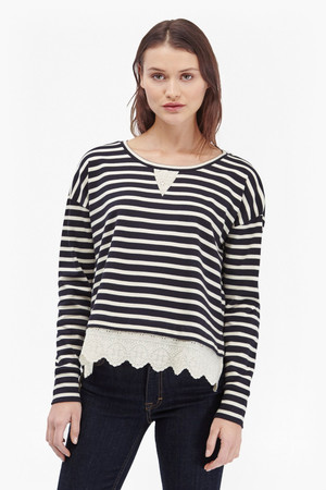 Annie Stripe And Broderie Back Top - Utility Blue/Daisy