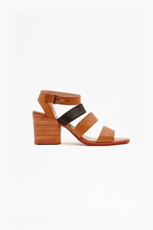 Ciara Leather Mid Heel Sandals - Safari Sands/Black