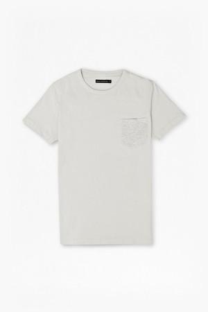 Classic Pocket T-Shirt - Light Grey Mel/Laundered Blue