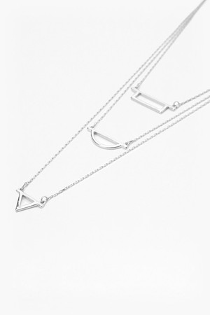 Cut Out Layered Pendant Necklace - Rhodium