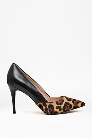 Elsynn Leather & Leopard Print Heels - Black/Black