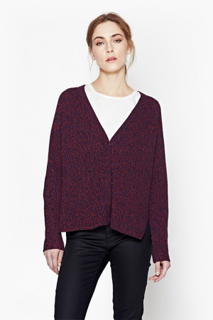 Naughty Bright Knitted Cardigan - Riot Red/Black