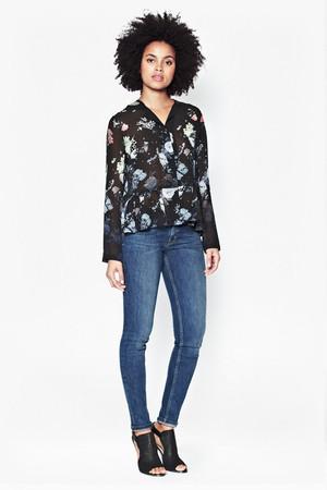 Nightfall Collarless Floral Shirt - Black Multi