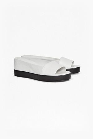 Pepper Leather Flatform Sliders - Summer White
