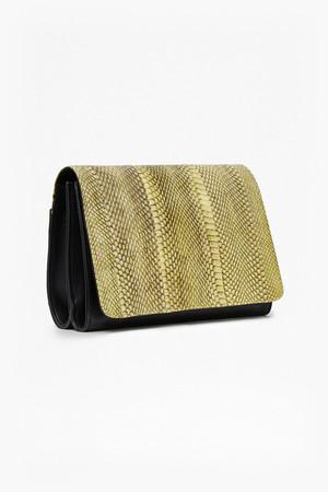 Polly Watersnake Shoulder Bag - Acid Blonde/Black