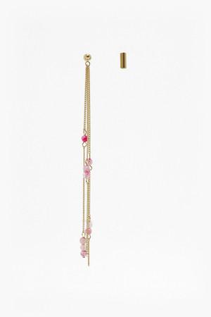 Semi Precious Bead Drop Earrings - Gold/White