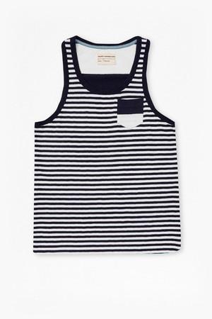 Shake Down Striped Vest - White/Marine Blue