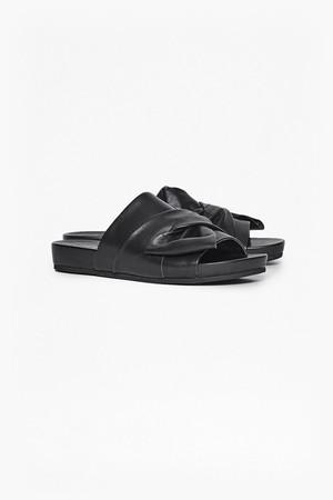Shida Bow Leather Sliders - Black
