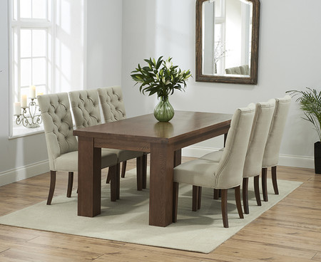Kentucky Dark 200cm Solid Oak Dining Table and Anais Fabric Dark Oak Leg Chairs