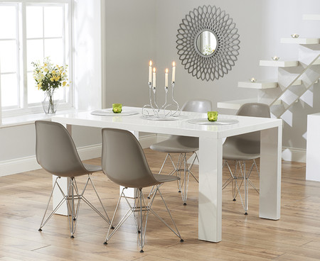 Monza 120cm White High Gloss Dining Table with Charles Eames Style DSR Eiffel Chairs